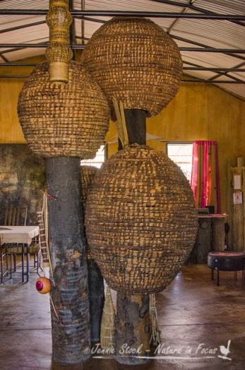 Some amazing baskets used in decorating the dining area