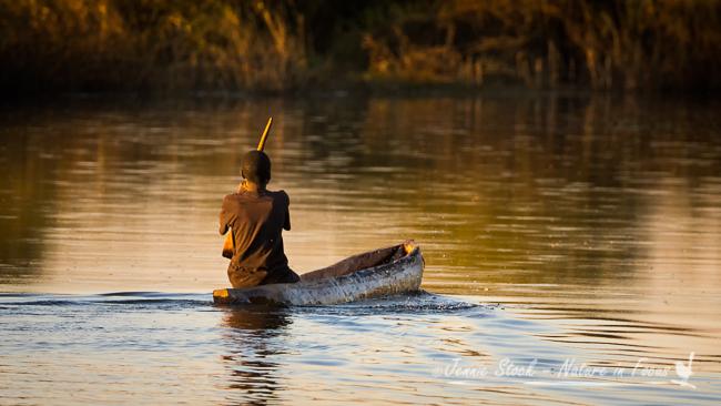Young boy in Mokoro on the Cubango River